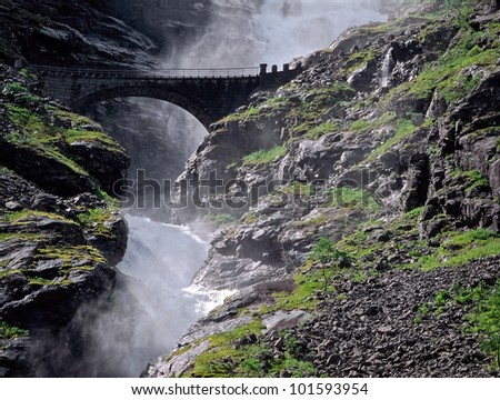 Bridge on the Trollstigen - Norway - stock photo