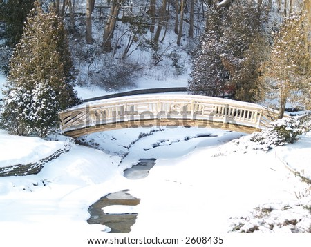 bridge over a frozen river