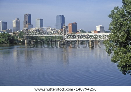 Bridge over Arkansas River view from North Little Rock, Little Rock, Arkansas - stock photo