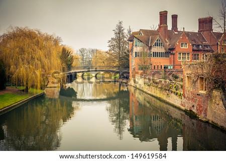 Bridge over Cam river, Cambridge University - stock photo