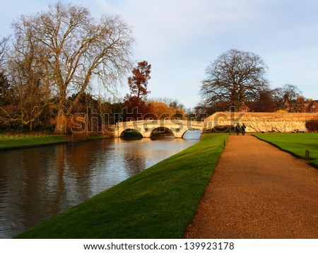 Bridge over Cambridge river, Cambridge University, UK. - stock photo