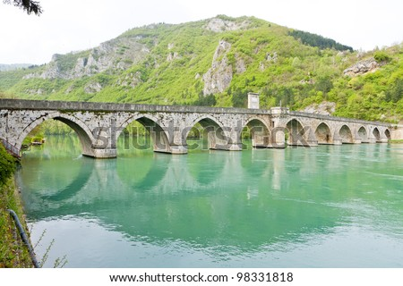 bridge over Drina River, Visegrad, Bosnia and Hercegovina - stock photo