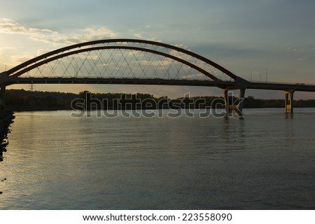 Bridge Over Mississippi River At Sunset - stock photo