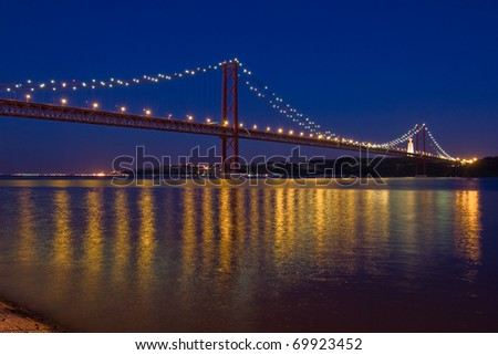 Bridge over Tagus river in Lisbon
