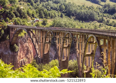 Bridge over Tara River Canyon,  Monetenegro, Europe.