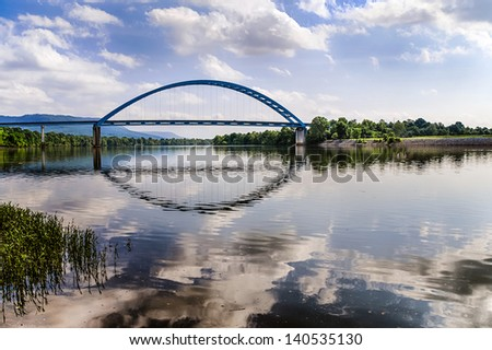 Bridge over Tennessee River in rural southeastern Tennessee - stock photo