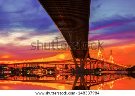 Bridge over the Chao Phraya River in Bangkok - stock photo