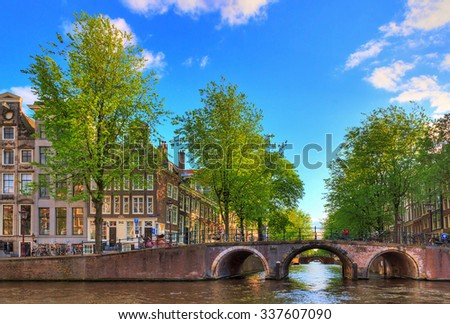 Bridge over the Leidse canal at the Patricians' or Lords' canal (Herengracht) in Amsterdam in spring