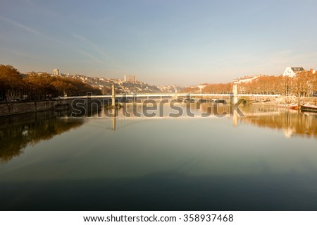 Bridge over the Rhone, Lyon, France. - stock photo