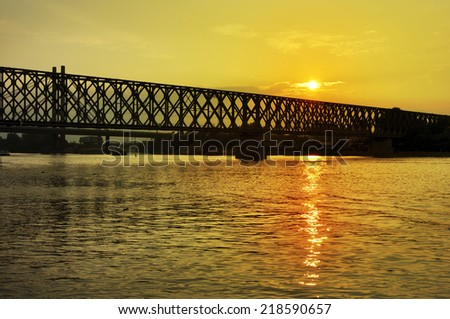 Bridge over the river and beautiful sunset, Belgrade, Serbia