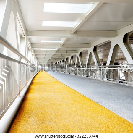 Bridge, pedestrians and non-motorized vehicle lanes. - stock photo