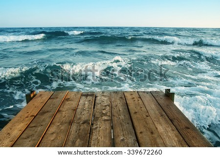 bridge pier on the sea  - stock photo
