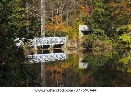 Bridge Reflections in Autumn - stock photo
