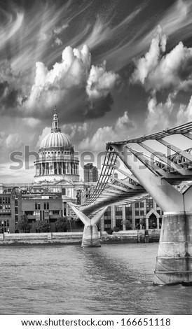 Bridge, River and London landmarks. - stock photo