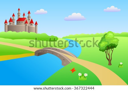 Bridge river summer landscape day castle illustration