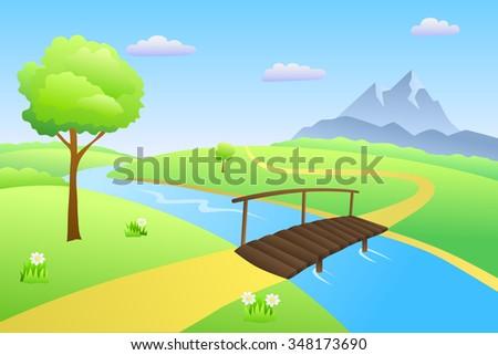 Bridge river summer landscape day illustration  - stock photo