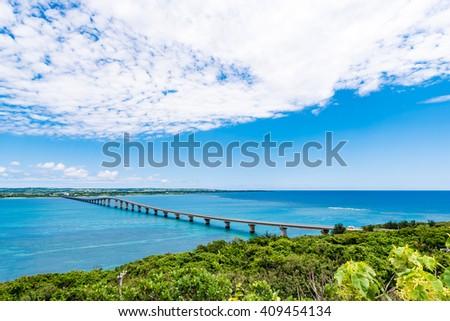 Bridge, sea, landscape. Okinawa, Japan, Asia. - stock photo