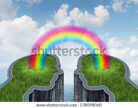 Bridge success concept as two islands and a road or highway shaped as a human head being connected by a rainbow as a business symbol of creative cooperation and successful teamwork on an ocean sky. - stock photo