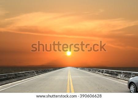 Bridge sunset background - stock photo