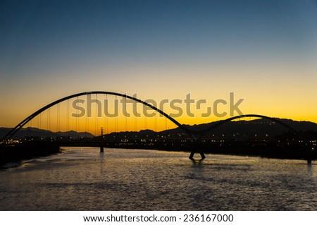 bridge sunset view - stock photo