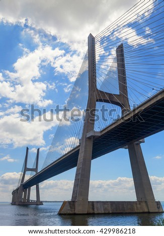 bridge the Vasco da Gama on river Tejo in european city Lisboa