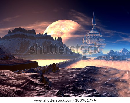 Bridge to Alien City of Towers on Distant Planet - stock photo