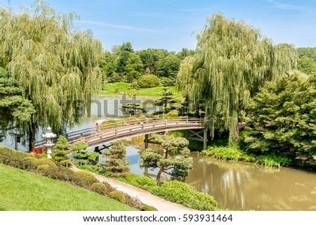 Bridge To Japanese Garden Area In Chicago Botanic Garden, Illinois, USA