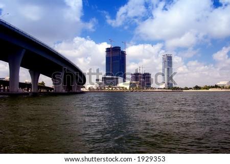 Bridge to Miami Downtown - stock photo