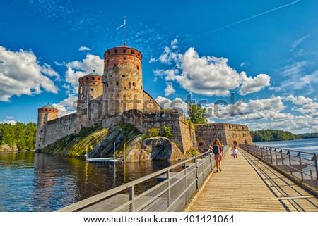 Bridge to the Olavinlinna Olofsborg, the 15th-century medieval three-tower castle located in Savonlinna, Finland. - stock photo