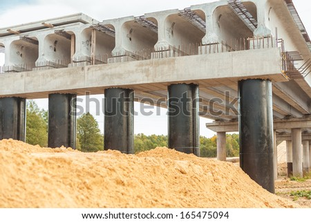 bridge under construction - stock photo