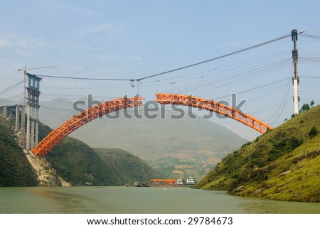 Bridge under construction as part of Three Gorges Dam project. - stock photo