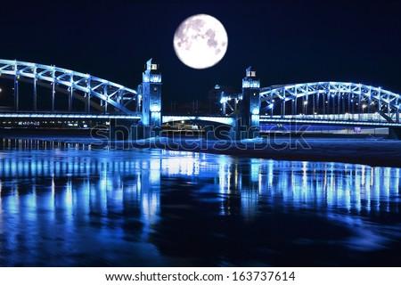 bridge with towers night landscape - stock photo