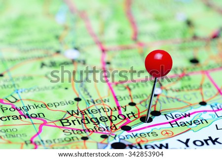 Bridgeport pinned on a map of USA  - stock photo