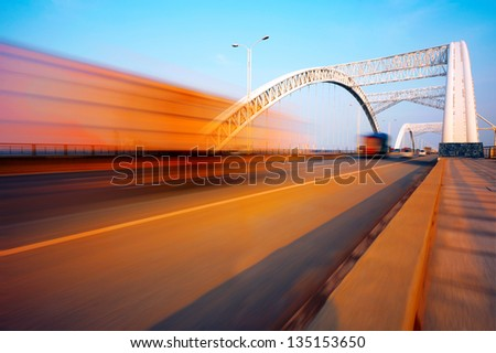 Bridges and high-speed driving truck - stock photo