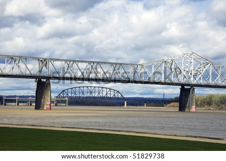 Bridges on Ohio River in Louisville. Border between Kentucky and Indiana.