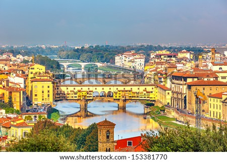 Bridges over Arno river in Florence, Italy - stock photo