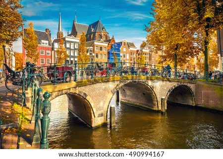 Bridges over canals in Amsterdam at autumn