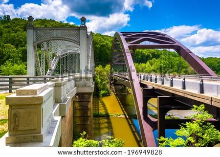 Bridges over Loch Raven Reservoir, in Baltimore, Maryland. - stock photo