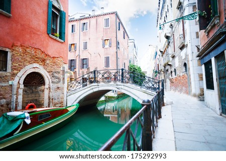 Bridges over small canal in Venice near saint Angelo square