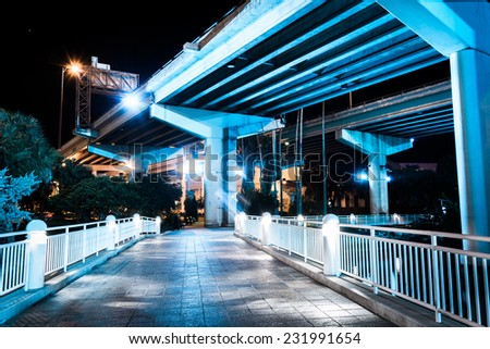 Bridges over the Hillsborough River seen from the Riverwalk at night in Tampa, Florida.
