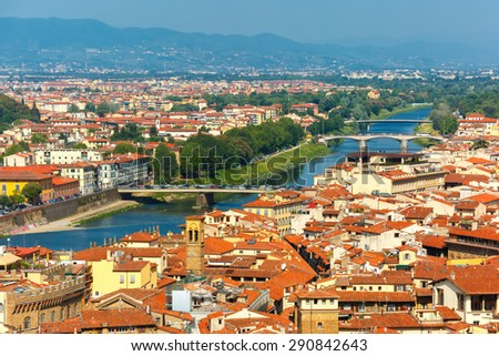 Bridges over the river Arno Ponte A. Vespucci and Ponte alla Vittoria at morning from Palazzo Vecchio in Florence, Tuscany, Italy