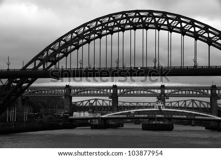 Bridges over the river tyne in gateshead newcastle - stock photo