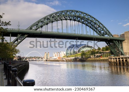 Bridges over the river Tyne, Newcastle,England on a bright sunny day