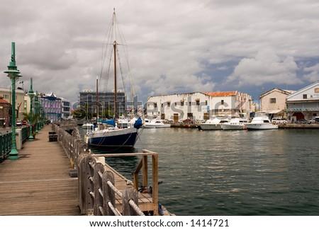 Bridgetown, Barbados Marina and Boardwalk. - stock photo