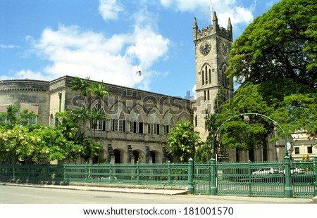 BRIDGETOWN, BARBADOS - OCTOBER 2: The parliament at October 2, 1999, Bridgetown, Barbados. Barbados is a beautiful Catibbean country with unique British-Caribbean architecture. - stock photo