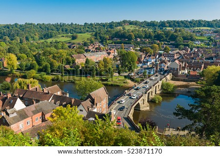 BRIDGNORTH, SHROPSHIRE, WEST MIDLANDS, ENGLAND - OCTOBER 31, 2016: view of Bridgnorth split into High Town and Low Town along the River Severn.