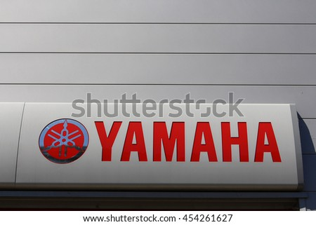 BRIE COMTE ROBERT, FRANCE - JULY 17, 2016: Yamaha Motor Company is an automotive engineering company subsidiary of Yamaha Corporation who developed racing engines for Formula 1.