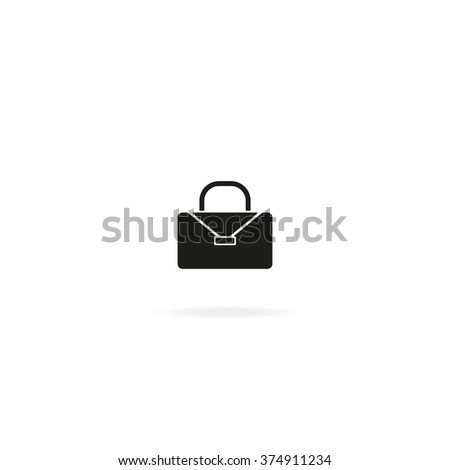 Briefcase flat icon. Bag illustration. - stock photo