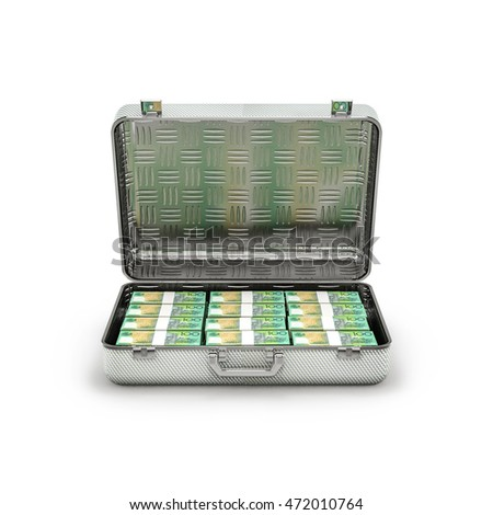 Briefcase ransom Australian dollars / 3D illustration of stacks of Australian hundred dollar bills inside metal briefcase