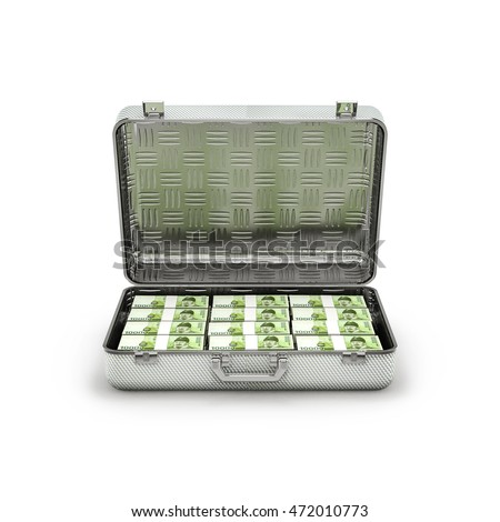 Briefcase ransom South Korean won / 3D illustration of stacks of South Korean ten thousand won notes inside metal briefcase